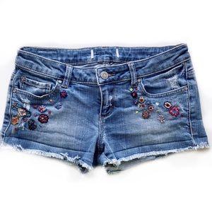 Garage Flower Hand Embroidered Denim Jean Shorts